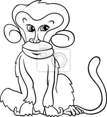 Linda página para colorear de dibujos animados mono carteles para la ...
