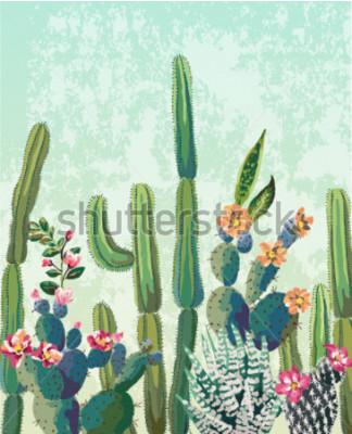 Póster Lindo cactus suculentas vector patrón
