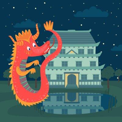 Póster Lindo dragón rojo junto a un castillo en la noche, la historia de cuento de hadas para niños vector