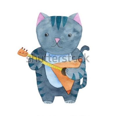 Póster Lindo gato acuarela tocando la balalaika o la guitarra