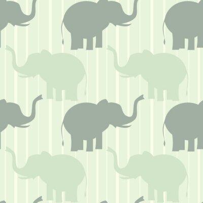 Póster Lindo pastel elefante sin fisuras patrón de fondo ilustración
