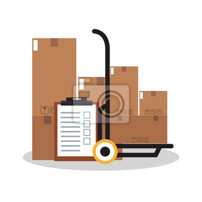 Lista de control, carretilla con cajas de cartón sobre fondo blanco. Concepto de logística de entrega. Diseño colorido. Ilustración vectorial