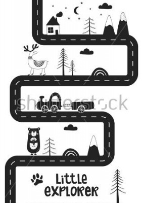 Póster Little explorer - Cute hand drawn nursery poster with road, wild animals and car. Unique card in black and white scandinavian style. Monochrome vector illustration.