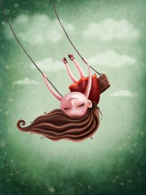 Póster Little fairy girl swingig