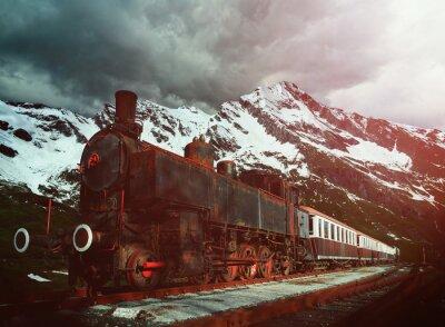 Póster locomotora de vapor