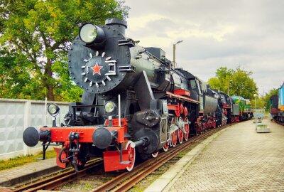 Póster Locomotora de vapor del vintage