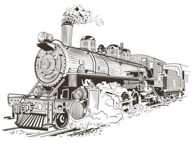Póster Locomotora de vapor ilustración en estilo vintage