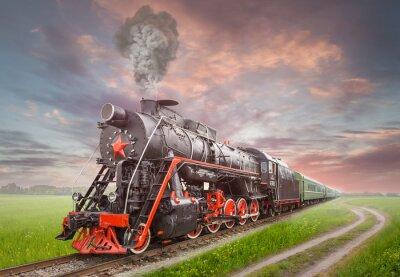Póster Locomotora de vapor soviética Retro