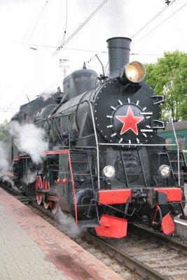 Póster Locomotora de vapor, vista frontal