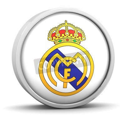 Póster Logo Real Madrid con marco de metal circular. Parte de una serie.