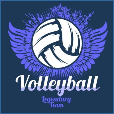 Póster Logotipo del campeonato de voleibol con bola - ilustración vectorial.