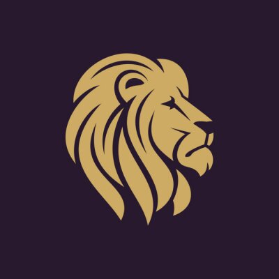 Póster Logotipo o icono de cabeza de león en un solo color. Ilustración vectorial.