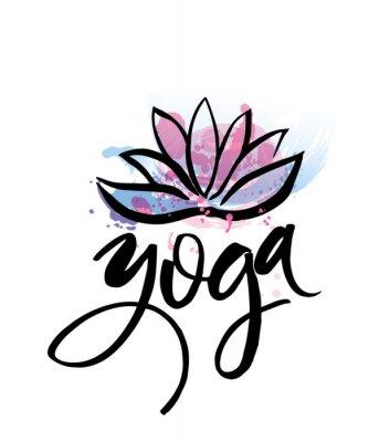 Póster Logotipo para estudio de yoga o clase de meditación. Elementos de la acuarela del diseño del logotipo del balneario. Concepto de la meditación. Silueta lotos. Ilustración del vector para la impresión
