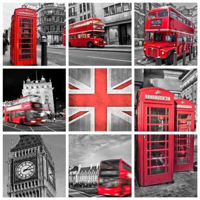 Póster Londres fotos collage, color selectivo