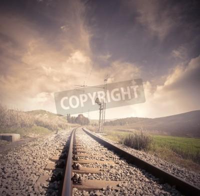 Póster Long railroad at the sunrise