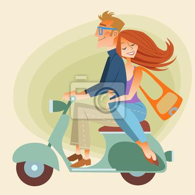Los amantes sirven y mujer en retro moto va por el camino