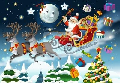 Imagenes De Papa Noel Animado.Poster Los Dibujos Animados Papa Noel Ilustracion