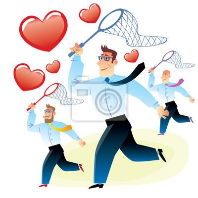 Los hombres en busca del amor Atrapados corazón rojo cazamariposas