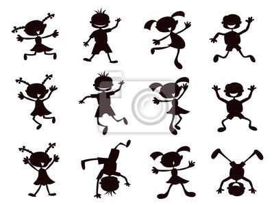 los niños de dibujos animados negro silueta