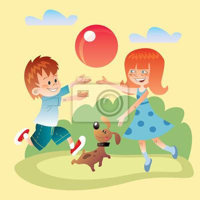 Los niños y los perros juegan al aire libre en la pelota