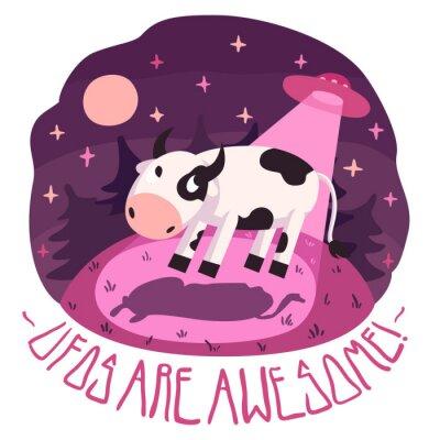 Póster ¡Los ovnis son impresionantes! (Fondo y tarjeta) con la vaca en la colina y OVNI en la noche con luna llena y estrellas (estilo de dibujos animados)
