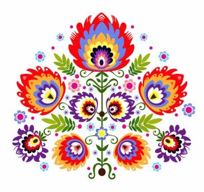 Póster Ludowy Wzor - kwiaty