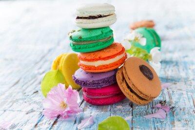 Póster Macarrones franceses dulces y coloridos.