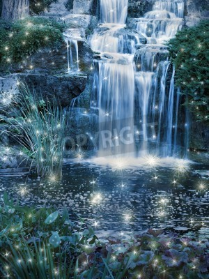 Póster Magic night waterfall scene