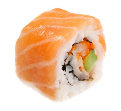 Póster Maki sushi aisladas sobre fondo blanco