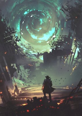 Póster man with futuristic arm looking at glowing spiral wind over the ruined city, digital art style, illustration painting