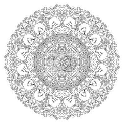 Póster Mandala de vector con una combinación de motivos florales, ondulados y geométricos. Mandala negro en el estilo indio, asiático, africano, árabe. Esquema de diseño de mandala. Adorno de henna Libro par