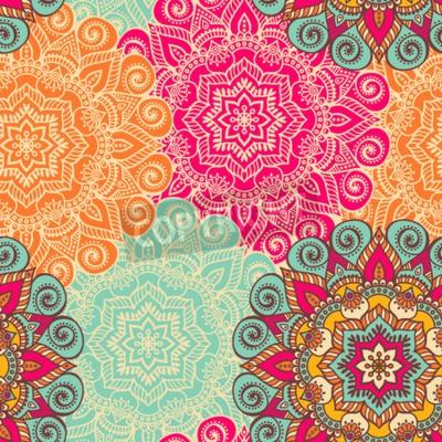 Póster Mandala del vector. Ornamento redondo en estilo étnico. Dibujo a mano
