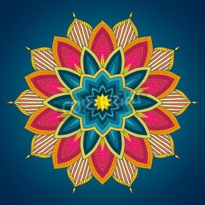 Póster Mandala. Encajes étnico modelo ornamental ronda. Hermosa dibujado a mano de flores. Se puede utilizar para el diseño de la tela, papel decorativo, diseño web, el bordado, tatuaje, etc.
