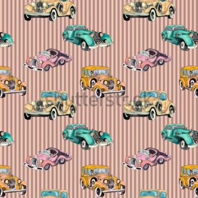 Póster Mano acuarela dibujada artística colorido retro vintage coche de patrones sin fisuras