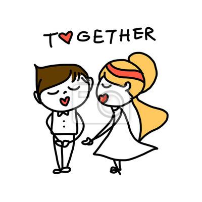 Mano Dibujo Dibujos Animados Amor Abstracto Carteles Para La Pared
