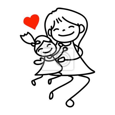Mano Dibujo Dibujos Animados Feliz Mamá E Hija Carteles Para La