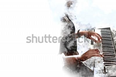 Póster Mano hermosa abstracta que toca el teclado del fondo de la pintura de la acuarela del primero plano del piano y del cepillo de la ilustración de Digitaces al arte.