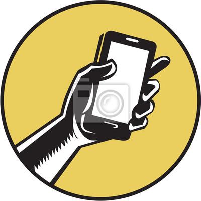 Mano, tenencia, Smartphone, círculo, grabar en madera