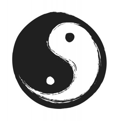 Póster Mano ying dibujado yang símbolo de la armonía y el equilibrio, elemento de diseño