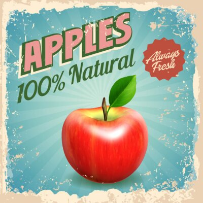 Póster manzanas vintage
