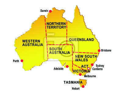 mapa de australia que muestra ocho estados principales ciudades