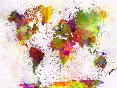 Póster Mapa del mundo en acuarela