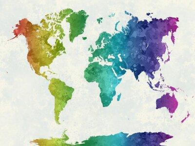 Póster Mapa del mundo en el arco iris de la acuarela