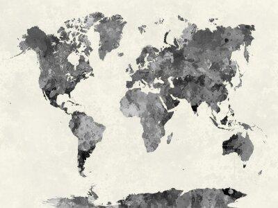 Póster Mapa del mundo en gris acuarela