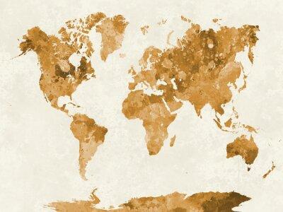 Póster Mapa del mundo en naranja acuarela