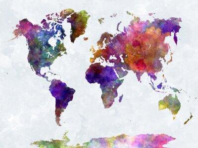Póster Mapa del mundo en watercolorpurple y azul