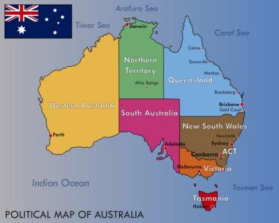 Póster Mapa político de Australia