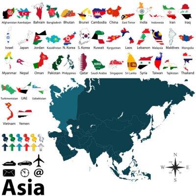Póster Mapas Políticos de Asia
