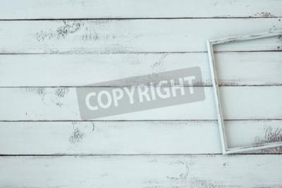 Póster Marco de fotos de madera en la menta fondo shabby chic