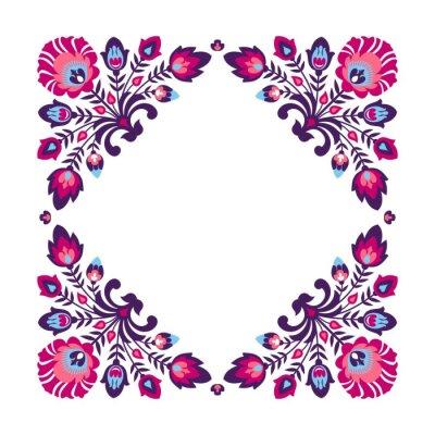 Póster Marco floral popular púrpura
